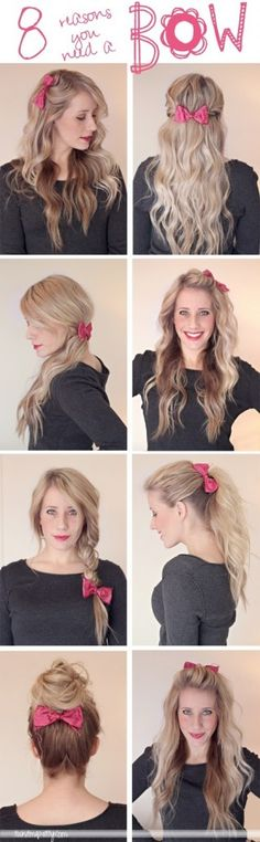 8 Ways to Wear a Bow in Your Hair - Charles' Wigs - Save 50% - 90% on Special Deals. http://www.ilovesavingcash.com