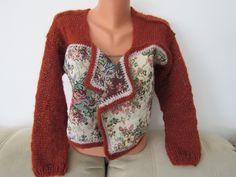 Burnt orange/rust/tapestry #Holiday BOHO #jacket soft mohair handknit one of a kind #shrug #bolero #sweater #cardigan #bolero #waistcoat