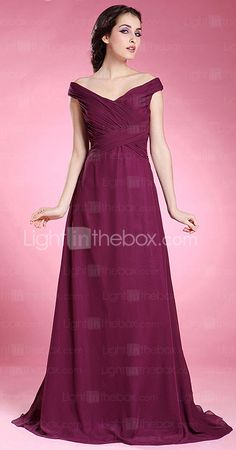 A-line Off-the-shoulder Short Sleeve Floor-length Chiffon Mother of the Bride Dress