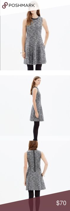 """Madewell the anywhere dress in tweed Sz 6 Sz 7... like new condition... cant tell TW ever before been worn! 18"""" underarm to underarm....35"""" length PRODUCT DETAILS Brilliantly structured and in a zigzag weave, this simple but special dress is one you can reach for again and again (trimmed in leather, it's a fresh update to our best-selling style). Genius with ankle boots or sneakers.  True to size, waisted. Falls 36"""" from shoulder. Cotton/acrylic/poly. Pockets. Machine wash. Import. Item…"""
