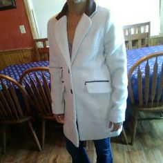 A. Byer  Medium coat White with black faux leather trim . preloved in good condition. A. Beyer Jackets & Coats Trench Coats