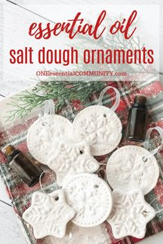 Scented Salt Dough Ornaments {made with essential oils} <br> Simple DIY scented Christmas ornaments. Includes 15 variations of essential oil blends to use in ornaments. Salt Dough Christmas Ornaments, Homemade Ornaments, How To Make Ornaments, Salt Dough Recipe For Ornaments, Salt Dough Crafts, Diy Ornaments, Ornament Crafts, Handmade Christmas, Christmas Diy