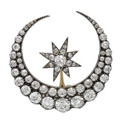 Victorian Diamond Silver Gold Crescent and Star Brooch | 1stdibs.com 14244$