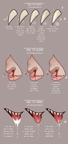 Teeth Blood and Drool by MarshmallowMaurice on DeviantArt Drawing Techniques, Drawing Tips, Drawing Reference, Coloring Tutorial, Digital Art Tutorial, Body Drawing, Art Base, Painting Tools, Art Tips