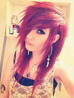 Red hair with scene bangs (Leda)You can find Scene bangs and more on our website.Red hair with scene bangs (Leda) Messy Hairstyles, Pretty Hairstyles, Scene Hairstyles, Pelo Emo, Red Scene Hair, Scene Bangs, Short Scene Hair, Et Tattoo, Long Gray Hair