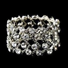 New Silver Clear Crystal St - Bracelet - $59.99