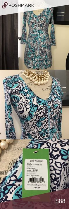 Lilly Pulitzer Juliet Dress Hippy Hippy Shake XS Brand new with tags Juliet Dress in Shorely Blue Hippy Hippy Shake. Fits true to size! Beautiful dress! Shipped from a smoke free home. Lilly Pulitzer Dresses Midi