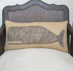 Cachalot Whale  - Burlap Feed Sack Pillow - Nautical Decor Whale Pillow. $30.00, via Etsy.