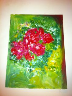 Flowers, oil stick on paper.