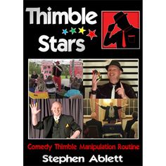Thimble Stars by Stephen Ablett - Thimble Stars is a 4 minute thimble manipulation routine, as Stephen performs in his children's show, adult parlour, and in close-up situations. He performs it over 250 times a year in his children's show to comedy patter, which ends in a spring rabbit production. His close-up version ends with the vanish of all four thimbles. The routine has ... get it here: http://www.wizardhq.com/servlet/the-17713/thimble-stars-by-stephen-ablett/Detail?source=pintrest