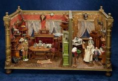 Lot: German Wooden Dollhouse Rooms Known as The Hunting Lodge Antique Dollhouse, Wooden Dollhouse, Dollhouse Dolls, Doll House People, Hat Stands, Miniature Rooms, Animal Heads, Miniture Things, Antique Toys