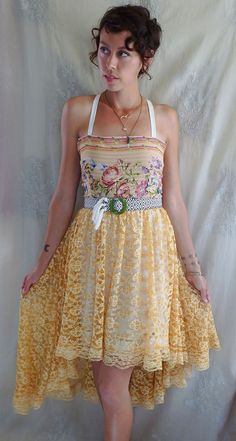 La Boheme Dress...Size Medium...boho free people whimsical indie high low lace hippie gypsy eco friendly by Jada Dreaming on Etsy $110