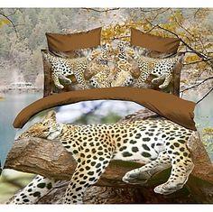 shuian® dekbedovertrek set, 4 delig pak troost eenvoudige moderne ventilatie gedrukt 3d luipaard patroon vol - EUR € 96.65