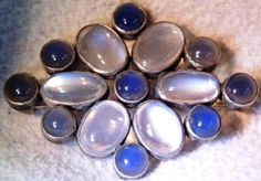 Edwardian Moonstone and Chalcedony Brooch