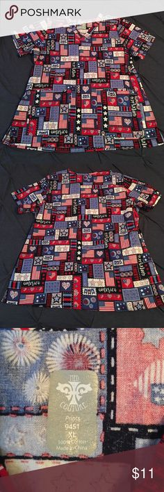 Patriotic / American print XL Scrub Top Med Couture size XL - excellent condition - worn once washed once Med Couture Tops
