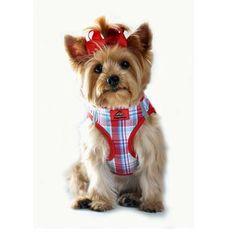 American River Ultra Choke Free Designer Dog Harness - Red & Turquoise Plaid
