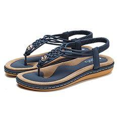 a500294d5c05 Socofy Sandales Plates Femmes Chaussures de Ville Été à Talons Plats Tongs  Claquettes Entredoights avec Semelle