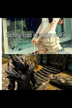 Skyrim. I felt this way the first time I tried on my dragon armor. I spent at least ten minutes staring at myself in third person. XD
