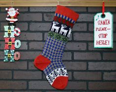 This Christmas stocking will add a charming, homespun feel to your holiday decor! I knit the cuff, heel and toe in Rouge Red. This stocking also