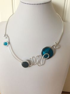 Your place to buy and sell all things handmade Teal Necklace, Wire Necklace, Wire Wrapped Necklace, Teal Jewelry, Wire Jewelry, Pendant Jewelry, Jewellery, Prom Necklaces, Aluminium