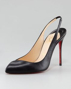 Corneille Asymmetric Red Sole Slingback, Black by Christian Louboutin at Neiman Marcus. $695