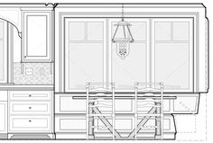 Breakfast nook Construction Documents, Drawing Interior, Breakfast Nook, Autocad, Architecture Details, House Plans, Archive, Floor Plans, Traditional