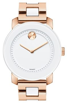Movado 'Bold' White Center Link Bracelet Watch, 36mm available at #Nordstrom