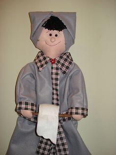 Transfira o molde cabeça e tronco para algodão cru, Vire pelo direito e pinte o…