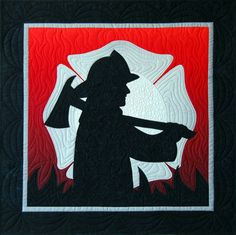 """Thank a firefighter with this quick and easy 26"""" x 26"""" wall hanging. Only 6 pieces are fused onto the background to create the delightful silhouette design! """"Firefighter"""" is from Happy Stash Quilts."""
