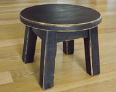 "Reclaimed wood/ Primitive/ black/ round stool/ step stool/ foot stool/ painted/ 10"" H"