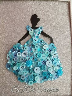 Handmade Disney Inspired Princess Cinderella Framed von SJCsCraftsx Cute Diys, Cute Crafts, Diy And Crafts, Arts And Crafts, Disney Button Art, Disney Buttons, Crochet Crafts, Sewing Crafts, Knit Crochet