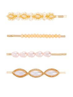 Accessorize Accessorize 4 X Flower Bead And Pearl Clip Set, Pearl, Women - Pearl - B Cup, High Leg Boots, Long Toes, Beaded Flowers, Bobby Pins, Latest Fashion, Hair Accessories, How To Apply, Pearls