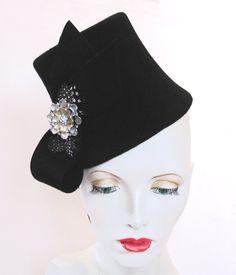 Vintage style black fur felt toque flowerpot hat by SHMillinery
