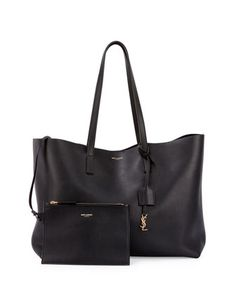 Large Shopping Tote Bag w/ Painted Edges, Black by Saint Laurent at Neiman Marcus.