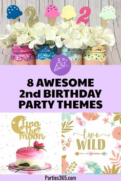 Planning a Birthday Party and need ideas for themes? We& got you covered with 8 party themes that will work for a girl or a boy! Toddler Birthday Themes, 2 Year Old Birthday Party Girl, Second Birthday Boys, Toddler Girl Parties, Girls Birthday Party Themes, First Birthday Parties, Birthday Party Decorations, Birthday Celebration, Birthday Invitations