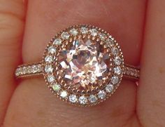 Peachy Pink Morganite in Rose Gold Milgrain Bezel Diamond Halo Engagement Ring