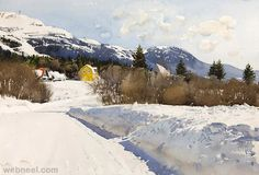 25 Realistic Watercolor paintings by Stanislaw Zoladz Watercolor Landscape Paintings, Watercolor Drawing, Watercolor Artists, Painting Snow, Artist Painting, Snow Scenes, Winter Scenes, Winter Landscape, Landscape Art