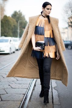 Leather Fringe and Wool - The Street Style at Milan Fashion Week Was Seriously Chic - Photos