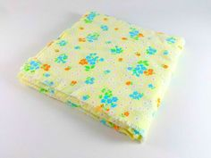 Vintage Flannel Fabric Blue Green Orange Yellow Flower Retro Floral Fabric Quilting Sewing Scrapbooking Crafts 2 Yards - pinned by pin4etsy.com