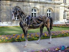 Paris, France: Jardin du Luxembourg: sculpture ('Cheval', by Heather Jansch) Palais Du Luxembourg, Luxembourg Gardens, Gothic Architecture Drawing, Sculpture Art, Sculptures, Wooden Horse, American Gothic, Le Palais, Victorian Gothic