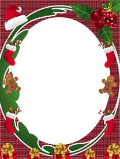 This free, printable Christmas border is decorated with Santa hats, holiday stockings, gingerbread men and presents. Free to download and print.