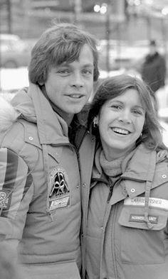 Mark Hamill and Carrie Fisher on location in Norway on March 1979 Star Wars Cast, Star Trek, Carrie Frances Fisher, Mark Hamill Luke Skywalker, Princesa Leia, Star Wars Jokes, War Film, Original Trilogy, The Empire Strikes Back