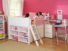 Kids Full Low Loft Bed with Desk Dresser and Bookcase Bunk Bed Bedroom Design Ideas for Girls