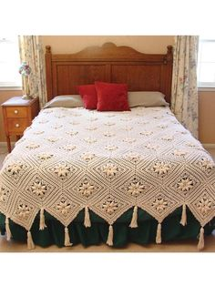 Curlicue Coverlet Crochet Pattern PDF by Maggiescrochet on EtsyPicture of Curlicue Coverlet Crochet Pattern . The flowers remind me of edelweiss.Curlicue Coverlet Pattern is a delicate crochet pattern that you can't help but fall in love with. Crochet Blocks, Afghan Crochet Patterns, Crochet Squares, Crochet Granny, Crochet Bedspread Pattern, Thread Crochet, Knit Crochet, Ravelry Crochet, Motifs Afghans