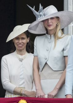 (R) Lady Gabriella Windsor and Lady Sarah Chatto during Trooping the Colour at The Royal Horseguards, 14.06.2014 in London, England.