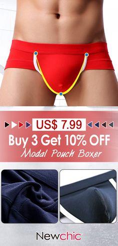 fd24b8c6e26b Modal Breathable Elastic Fiber Soft Patchwork Sexy Underwear U Convex Pouch Boxer  Mens Pouch, Boxer