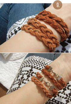 Bubby and Bean ::: Living Creatively: DIY Tutorial >>> Braided Leather Wrap Bracelets