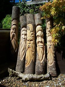 Fair-Trade-Hand-Carved-Wooden-Green-Man-Half-Tree-Trunk-Stump-Log-Statue-100cm