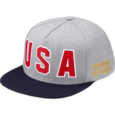 """USA"" grey, red and blue snapback from Supreme to celebrate a belated 7/4 and prep for the Olympics. $40.00"