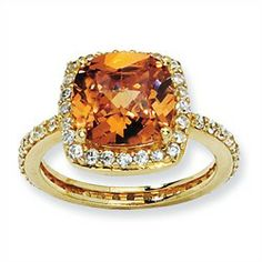"Gold plated ""Vermeil"" Sterling Silver Rose-cut Citrine CZ Square Ring"